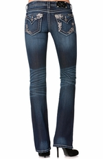 Miss Me Womens Pink Sequin Pocket Boot Cut Jeans - DK 247
