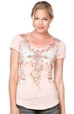 Miss Me Womens Short Sleeve Winged Cross Lace Up Top - Peach