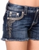 Miss Me Womens Black Leather Trim Shorts - DK257 (Closeout)