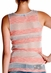 Miss Me Womens Silver Striped Tank Top - Coral