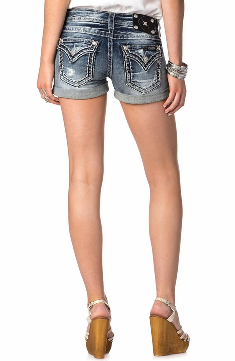 Miss Me Womens Simple Saddle Stitch Border Shorts - MK 278 (Closeout)