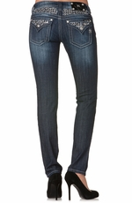Miss Me Womens Skinny Jeans with Sequin Insert - MK 212 (Closeout)