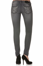Miss Me Womens Skinny Jeans with Winged Cross - Grey (Closeout)