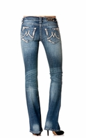 Miss Me Womens Slim Fit Boot Cut Jeans with Metallic M Pockets - MK 161
