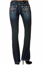 Miss Me Womens Snow Flake Cross Boot Cut Jeans - DK216 (Closeout)
