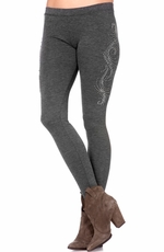 Miss Me Womens Sparkle Swirl Leggings - Charcoal (Closeout)