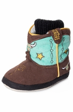 Montana Silversmiths Cowboy Kickers Infants Soft Sole Longhorn Bootie - Aqua/Brown