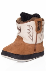 Montana Silversmiths Cowboy Kickers Infants Soft Sole Horseshoe Bootie - Tan/Brown