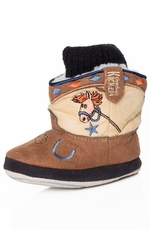 Montana Silversmiths Cowboy Kickers Infants Soft Sole Stick Horse Bootie - Tan/Brown