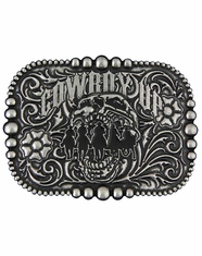 Montana Silversmiths Attitude Cowboy Up Buckle - Antique