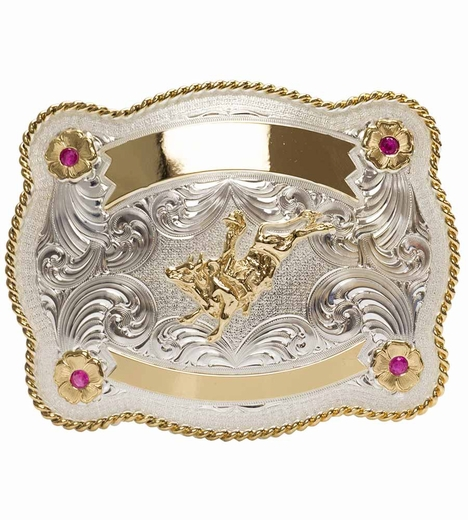 Montana Silversmiths Mens Bullrider Engravable Trophy Belt Buckle - Ruby