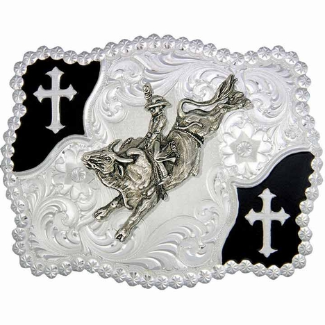 Montana Silversmiths Christian Flourish Scallop Shape Belt Buckle with Bullrider (Closeout)