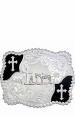 Montana Silversmiths Christian Flourish Scallop Shape Belt Buckle with Christian Cowboy