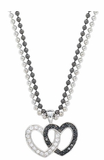 Montana Silversmiths Crystal and Black Double Heart Pendant Necklace (Closeout)