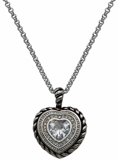Montana Silversmiths Crystal Heart in a Heart in a Heart Pendant Necklace (Closeout)