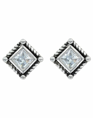 Montana Silversmiths Crystal Rope Stud Earrings- Silver