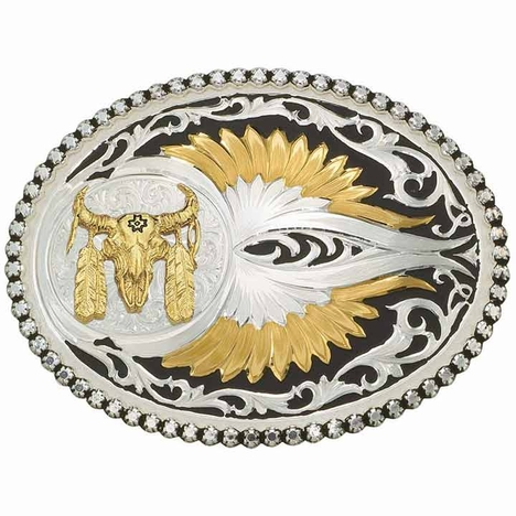 Montana Silversmiths Eagle Feathers Western Belt Buckle with Buffalo Skull