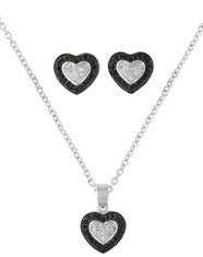 Montana Silversmiths Heart Earring and Necklace Set- Black/Silver