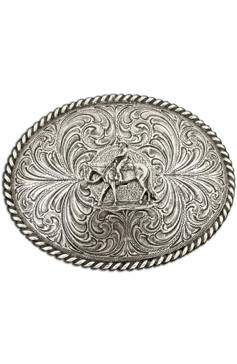 Montana Silversmiths Horse and Rider Antiqued Attitude Belt Buckle (Closeout)