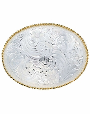 Montana Silversmiths Large Floral Engraved Western Belt Buckle - Silver/Gold