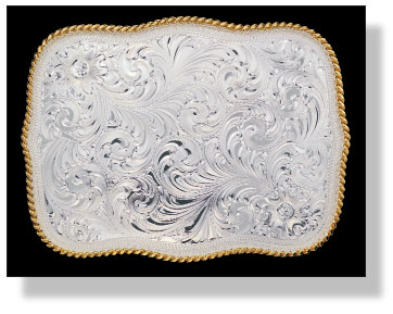 Montana Silversmiths Large Scalloped Silver Engraved Western Belt Buckle