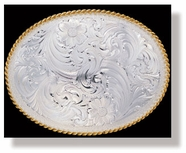 Montana Silversmiths Large Silver Engraved Western Belt Buckle with Gold Trim
