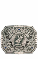 Montana Silversmiths Longhorn Moon at Midnight Western Belt Buckle with Bull Rider
