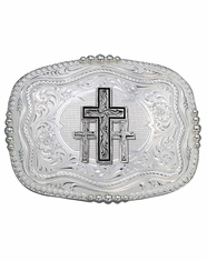 Montana Silversmiths Rounded Square Triple Cross Belt Buckle