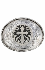 Montana Silversmiths Antiqued Silver Cross Concho Belt Buckle