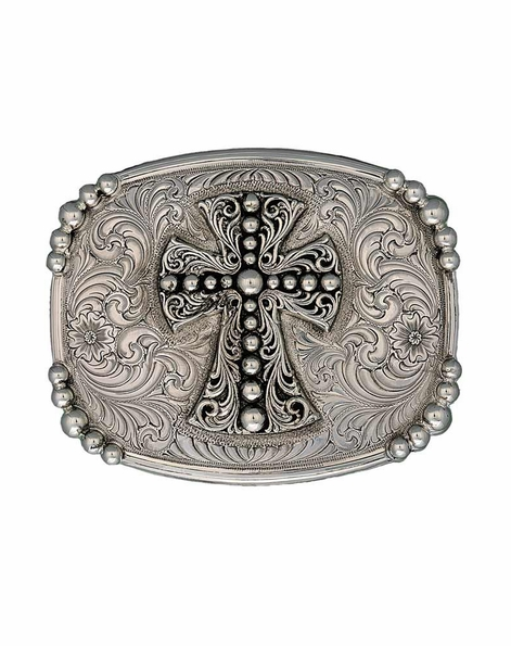 Montana Silversmiths Mens Antiqued Western Deco Cross Belt Buckle