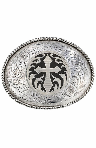 Montana Silversmiths Mens Antiqued Silver Cross Concho Belt Buckle