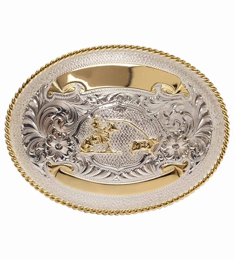 Montana Silversmiths Mens Breakaway Roper Engravable Trophy Belt Buckle