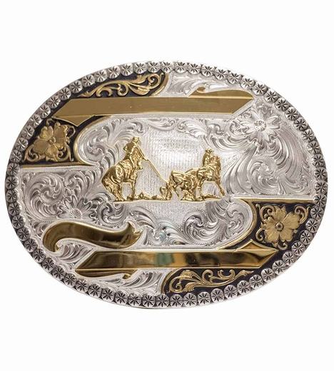 Montana Silversmiths Mens Team Roper Engravable Trophy Belt Buckle - Silver/Gold