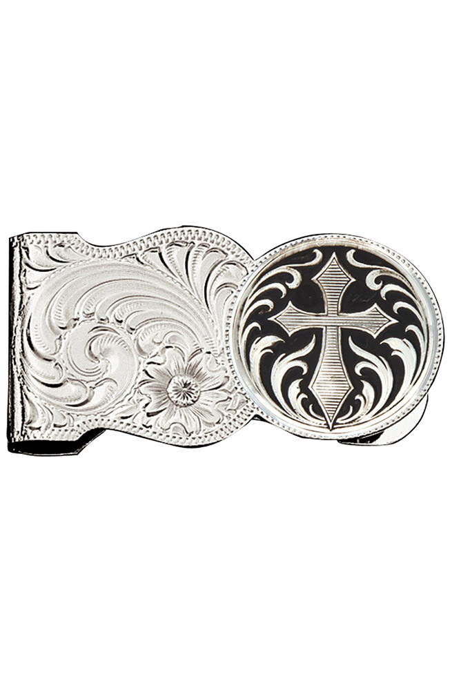 Montana Silversmiths Mens Engraved Cross Scalloped Money Clip