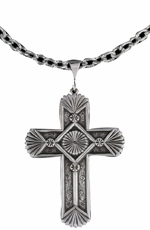 Montana Silversmiths Mens Southwest Style Gunmetal Cross Necklace
