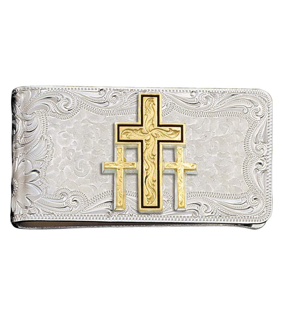 Montana Silversmiths Mens Square Triple Cross Money Clip