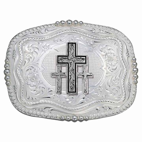 Montana Silversmiths Rounded Square Triple Cross Western Belt Buckle