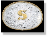 Montana Silversmiths Silver Engraved Gold Trim Western Belt Buckle (Closeout)