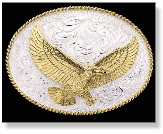 Montana Silversmiths Silver Engraved Western Belt Buckle with Large Eagle