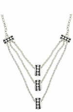 Montana Silversmiths Three Tiers Crystal Shine Rings in Black Necklace