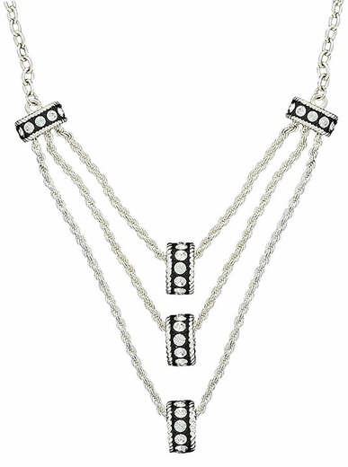 Montana Silversmiths Three Tiers Crystal Shine Rings in Black Necklace (Closeout)