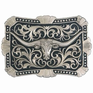Montana Silversmiths True Blue Trailblazer Longhorn Belt Buckle