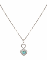 Montana Silversmiths Women's Double Heart Opal Necklace