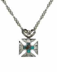 Montana Silversmiths Women's Maltese Cross Necklace Turquoise/Brown