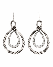 Montana Silversmiths Women's Rock 47 Double Teardrop Rope Earrings