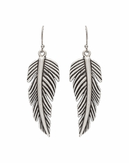 Montana Silversmiths Women's Rock 47 Feather Dangle Earrings (Closeout)