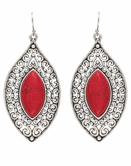 Montana Silversmiths Women's Rock 47 Filigree Drop Stone Earrings - Red