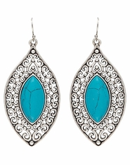 Montana Silversmiths Women's Rock 47 Filigree Drop Stone Earrings - Turquoise