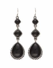 Montana Silversmiths Women's Rock 47 Stone Drop Earrings - Black