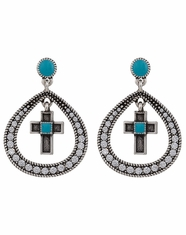 Montana Silversmiths Women's Rock 47 Teardrop Cross Earrings (Closeout)